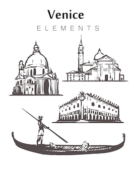 Набор зданий венеции, изолированные на белом
