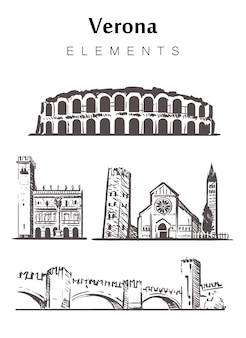 Набор зданий вероны, изолированные на белом