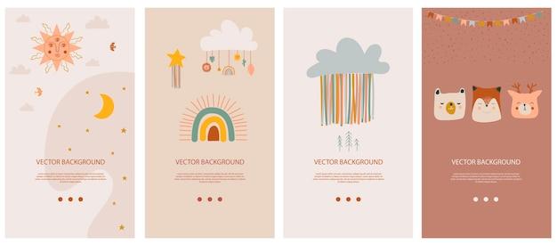 Набор вертикальных фоновых шаблонов для социальной сети и мобильного приложения с милыми элементами бохо