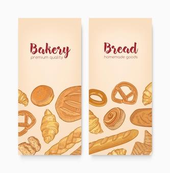 おいしいパン、甘いおいしいペストリー、または自家製の焼き菓子を含む垂直バナーテンプレートのセット