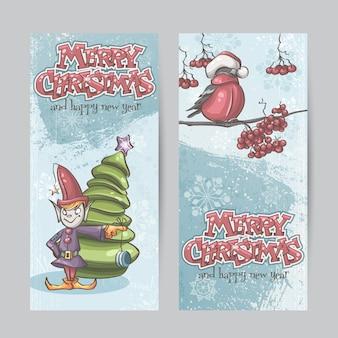 クリスマスと新年の垂直バナーのセット