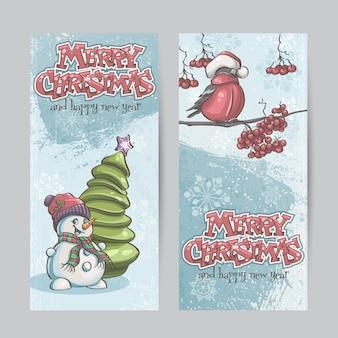 Набор вертикальных баннеров на рождество и новый год