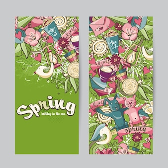 Набор вертикальных баннеров на тему весны