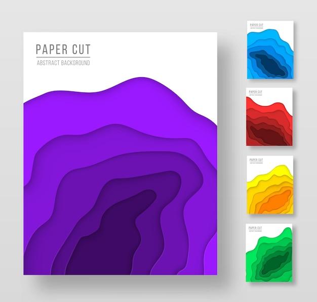Набор вертикальных баннеров с 3d абстрактным фоном с волнами вырезки из бумаги