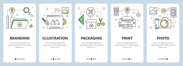 ブランディング、イラスト、パッケージ、印刷、写真のコンセプトのウェブサイトテンプレートと垂直バナーのセット。ウェブ、印刷用のモダンな細い線のフラットスタイルのデザイン要素。