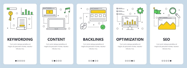 Keywording, content, backlinks, optimization, seo 웹 사이트 템플릿이있는 수직 배너 세트.