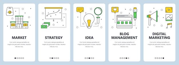 市場、戦略、アイデア、ブログ管理、デジタルマーケティングのウェブサイトテンプレートを備えた垂直バナーのセット。