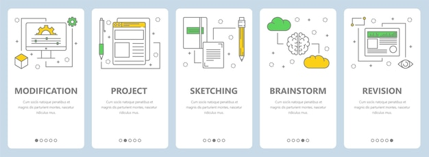 수정, 프로젝트, 스케치, 브레인 스토밍 및 수정 개념 웹 템플릿이있는 수직 배너 세트. 현대 얇은 라인 아트 스타일 디자인 요소, 기호, 웹 사이트 메뉴 아이콘, 인쇄.