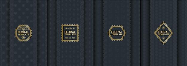 フレームの詳細な装飾モチーフと縦花バナーのセット