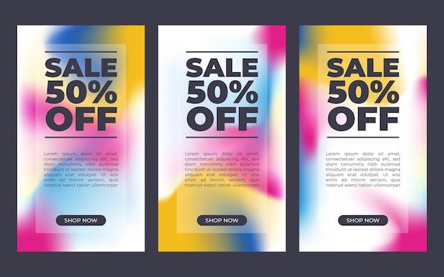 수직 기하학적 판매 배너의 집합입니다. 슬라이스 텍스트 스타일입니다. 그래픽 디자인 요소 - 광고, 포스터, 전단지, 태그, 쿠폰, 카드. 벡터 일러스트 레이 션. 프리미엄 벡터