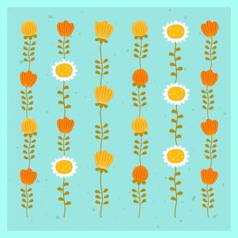 赤、黄色の花と鎮静と垂直の飾りのセット