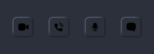 화상 통화 아이콘 세트입니다. 스피커, 마이크, 화상 채팅, 카메라 관련 아이콘. 화상 회의.