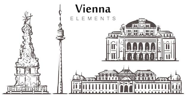 Набор зданий вены, изолированные на белом