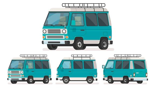 Набор видов минивэна для путешествий. поездка на фургоне. в мультяшном стиле