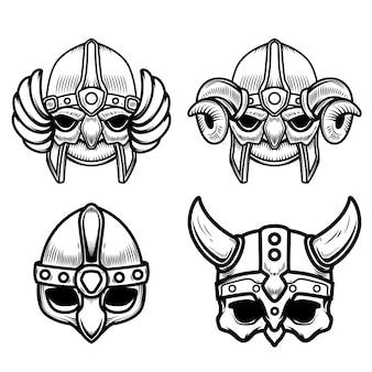 白い背景の上のバイキングのヘルメットのセットです。ロゴ、ラベル、記号の要素。画像