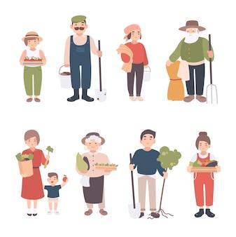 마을 사람들의 집합입니다. 다른 젊은이, 성인, 노인 농부 및 어린이. 묘목, 작물, 도구를 가진 행복한 남자와 여자. 만화 스타일의 다채로운 벡터 일러스트입니다.