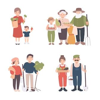 마을 사람들의 집합입니다. 다른 젊은이, 성인, 늙은 농부와 아이들이 함께 합니다. 행복한 조부모, 묘목, 작물, 도구를 가진 남녀. 만화 스타일의 다채로운 벡터 일러스트 레이 션.