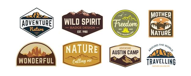 Набор старинных приключений, альпинистов, пеших прогулок, значок, вдохновение для дизайна логотипа
