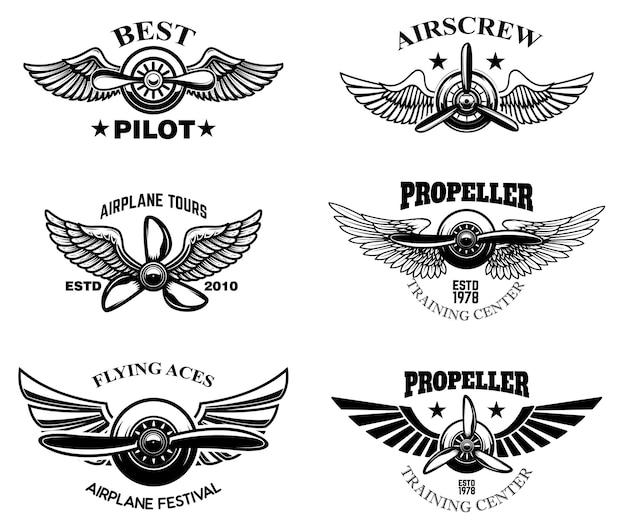 ヴィンテージ飛行機ショーのエンブレムのセット。ロゴ、ラベル、サイン、メニューのデザイン要素。