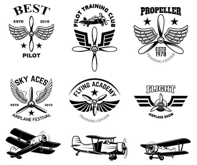 Набор старинных эмблем шоу самолета
