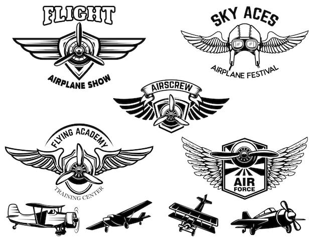 ヴィンテージ飛行機ショーのエンブレムのセット