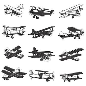 ヴィンテージ飛行機アイコンのセットです。航空機のイラスト。 、ラベル、エンブレム、記号の要素。図。