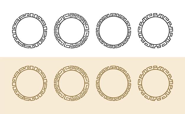 로고에 대한 빈티지 고대 그리스 원형 테두리 프레임 세트 및