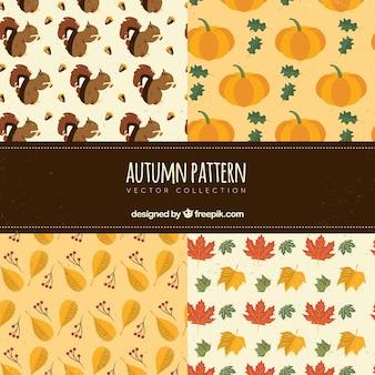 ヴィンテージの秋の模様のセット