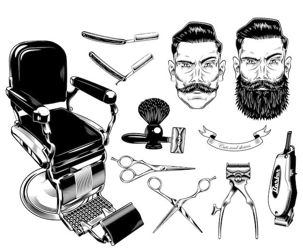 Набор старинных эмблем парикмахерской, этикеток, значков, логотипов.