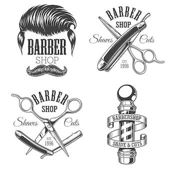 Набор старинных эмблем парикмахерской