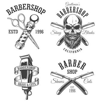 ビンテージの理髪店のエンブレムセット