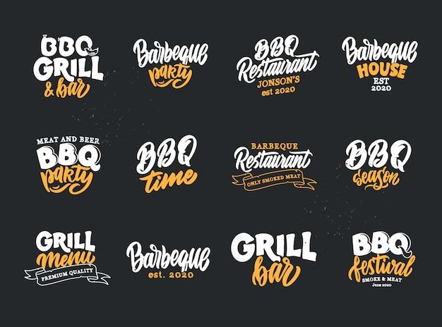 Набор старинных барбекю время фразы. пищевые эмблемы, значки, шаблоны, наклейки