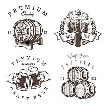 ビンテージビール醸造所のエンブレム、ラベル、ロゴ、バッジおよび設計要素のセットです。モノクロスタイル。白い背景で隔離