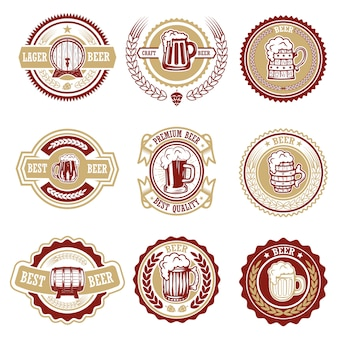Набор старинных пивных этикеток. элементы для логотипа, этикетки, эмблемы, знака, меню. иллюстрация