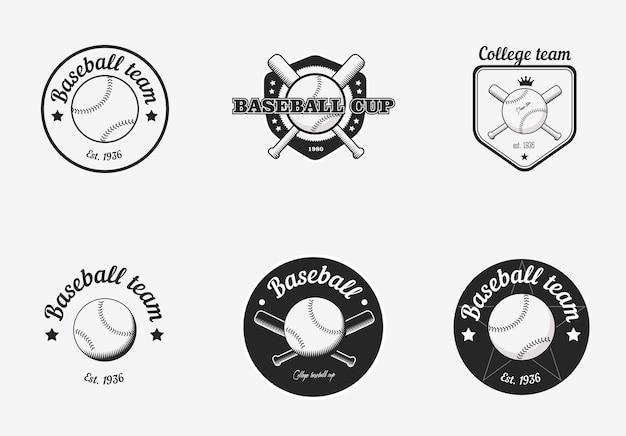 빈티지 흑백 야구 선수권 대회 로고 세트