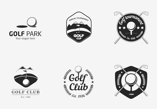 빈티지 흑백 골프 선수권 로고 세트