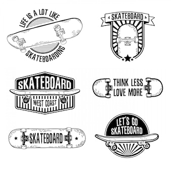 스케이트 보드와 빈티지 흑백 로고, 배지, 배지, 라벨, 스티커 세트