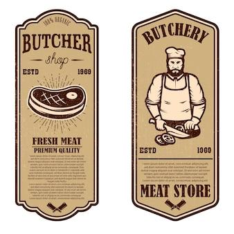 Набор старинных флаеров мясной лавки и мясного магазина