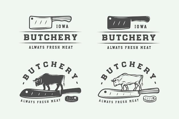 ヴィンテージ肉屋の肉のロゴのセット