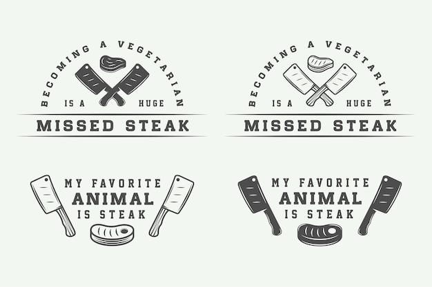 빈티지 도살 고기, 스테이크 또는 바베큐 로고, 엠블럼, 배지, 라벨 세트. 그래픽 아트. 삽화