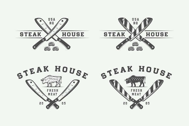 Набор старинных мясных закусок, стейков или логотипов барбекю, эмблем, значков, этикеток. монохромная графика. векторные иллюстрации.