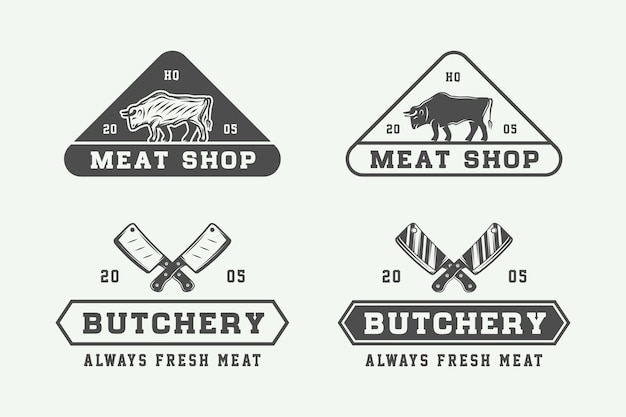 빈티지 도살 고기 스테이크 또는 바베큐 로고 세트