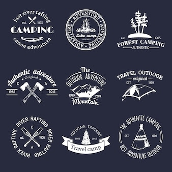 Набор старинных логотипов кемпинга