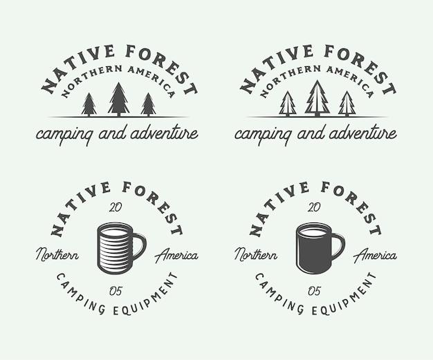Набор старинных кемпингов на открытом воздухе и приключенческих логотипов, значков, этикеток, эмблем