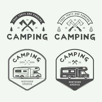 빈티지 캠핑 야외 및 모험 로고 세트