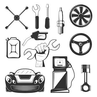 ヴィンテージカーサービスシンボルのセット、白い背景で隔離のアイコン。ロゴと印刷用の黒いテンプレート。