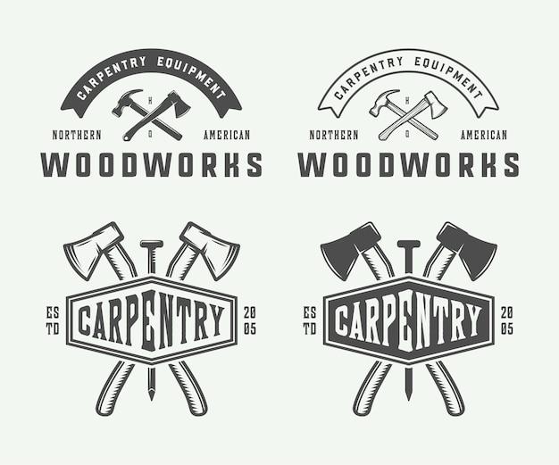 Набор старинных столярных изделий из дерева и механик наклеивает значки, эмблемы и логотип векторные иллюстрации