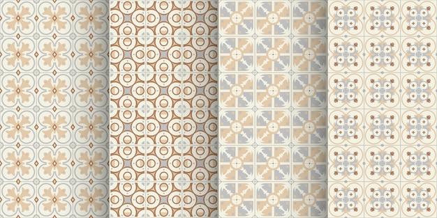 ヴィンテージセラミックタイルのシームレスなパターンのセット
