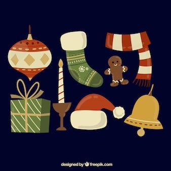 Set of vintage christmas elements
