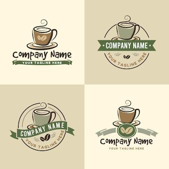 緑またはオリーブと茶色の背景色のカフェのビンテージコーヒーカップロゴテンプレートのセット